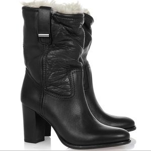 Burberry Shearling Lined Leather Ankle Boots
